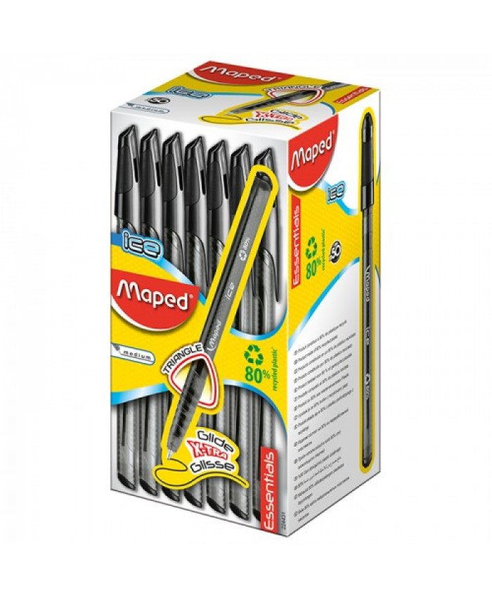 BOLÍGRAFO ICE NEGRO x 50 - MAPED