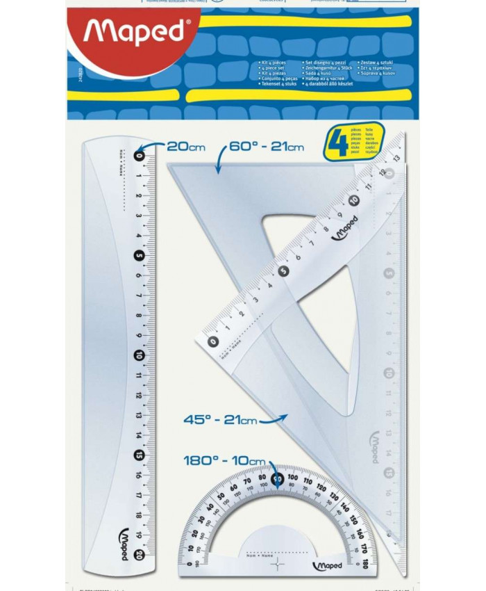 KIT DE REGLAS MAPED 242 CRISTAL MEDIANO - 4 PZ