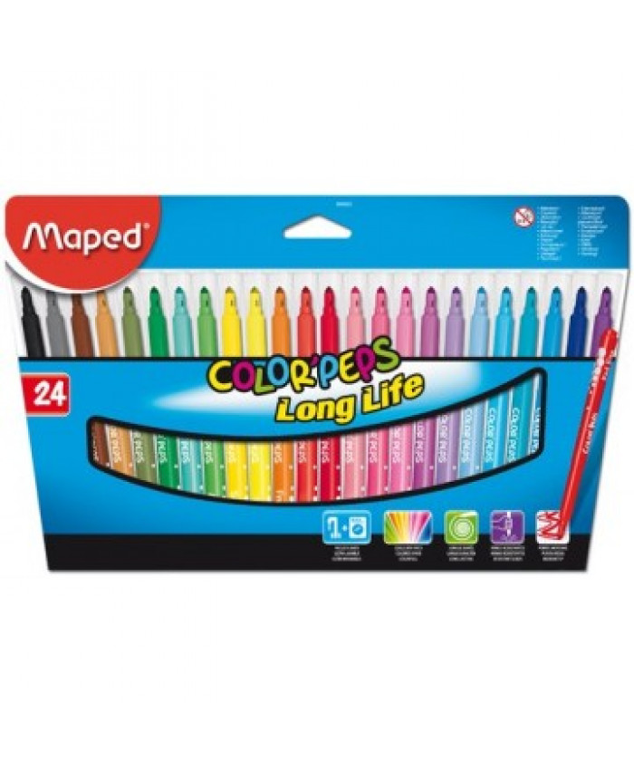 MARCADORES MAPED LONG LIFE  (24 COLORES)