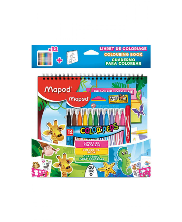 MARCADORES MAPED JUNGLE  (12 COLORES) + LIBRO DE COLOREAR