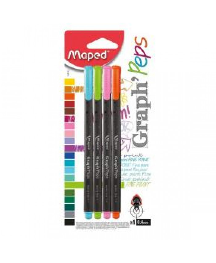 MARCADORES PUNTA FINA MAPED 0,4MM - 4 COLORES