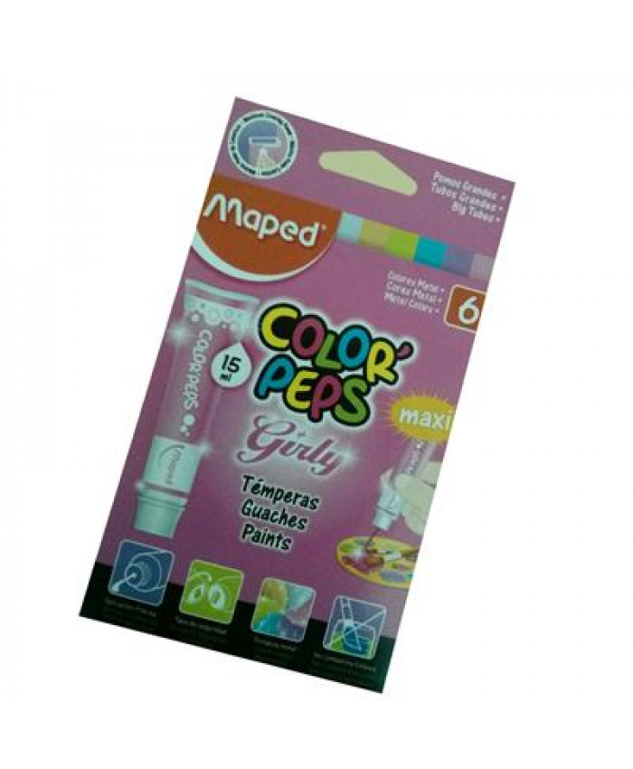 TÉMPERA 6 COLORES GIRLY - MAPED