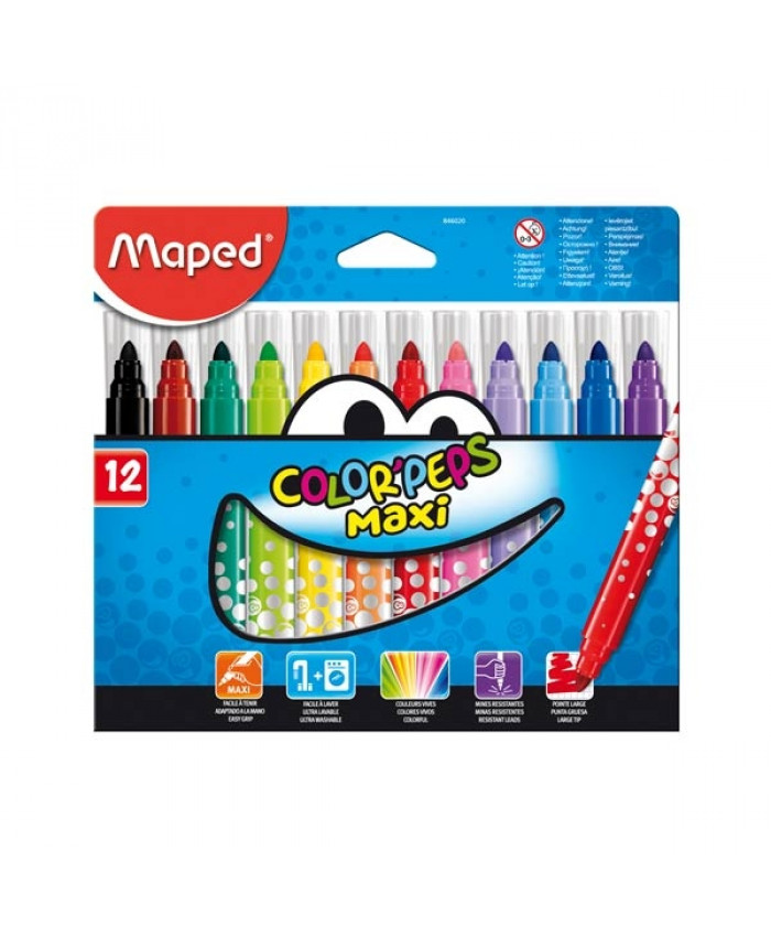 MARCADORES COLOR PEPS MAXI x 12 COLORES - MAPED