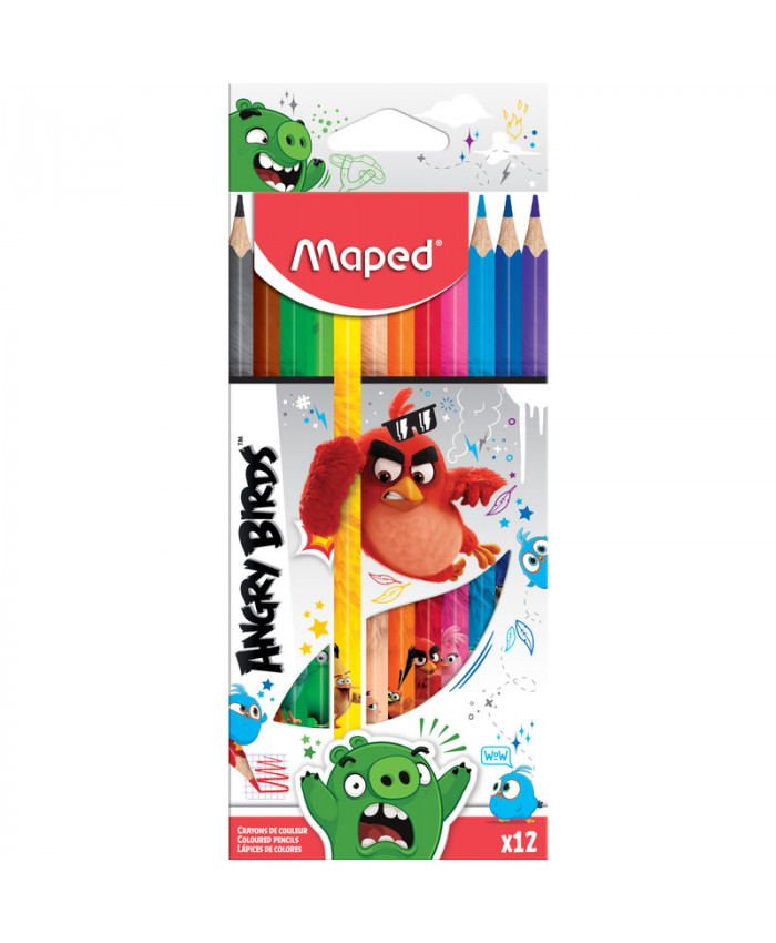 LÁPICES DE COLORES (12) ANGRY BIRDS | MAPED