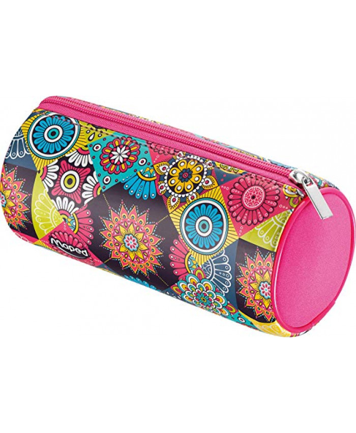 CARTUCHERA TUBO NEOPREN GIRL MOSAIC FUCSIA | MAPED