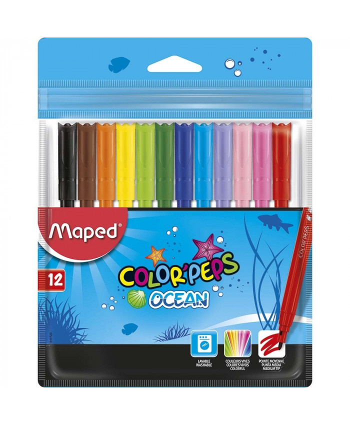 MARCADORES OCEAN X 12 COLORES - MAPED