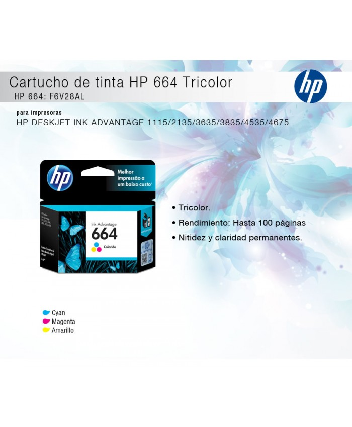 TINTA HP 664 COLOR F6V28AL
