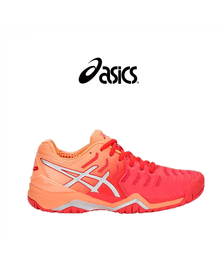 CALZADO ASICS FEMENINO - GEL-RESOLUTION 7 RED ALERT/SILVER